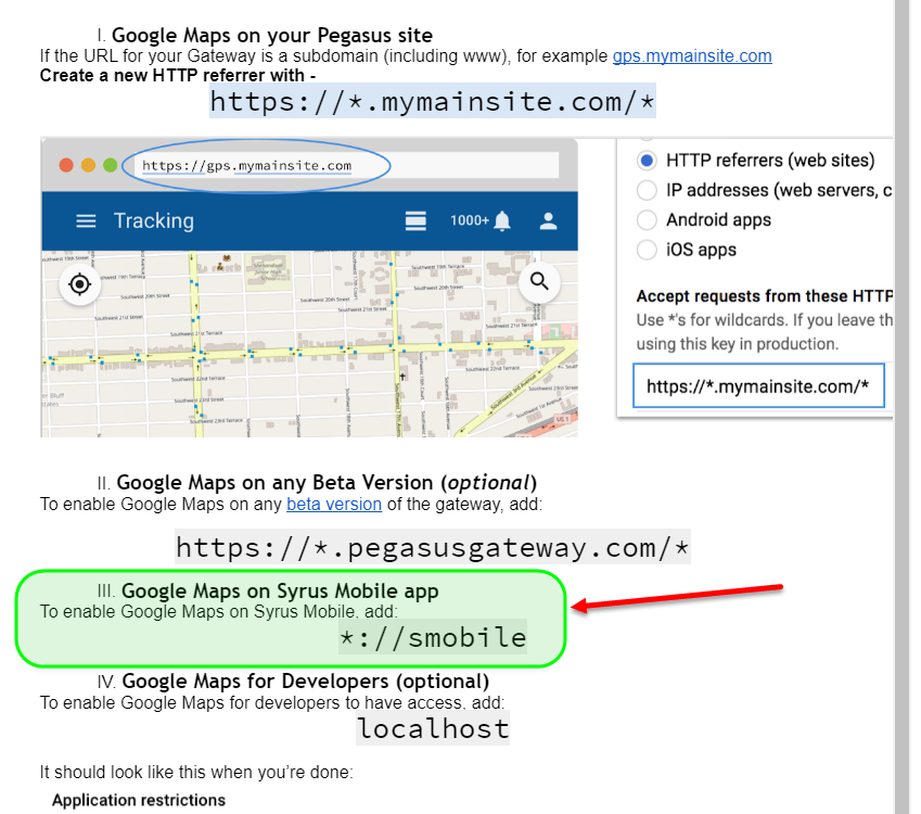 Google Maps on Syrus Mobile App (referrer)